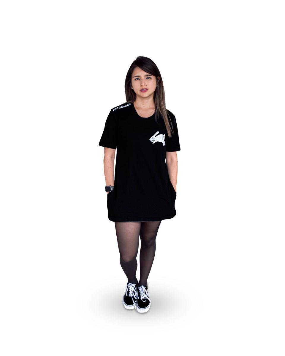 camiseta vestido negro gatozorro